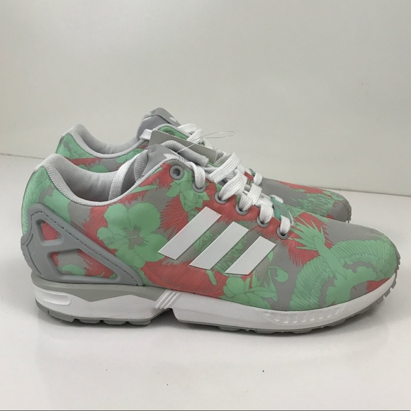reputable site 1a842 eb2e2 Adidas ZX Flux Light Onix Shoes white pink floral